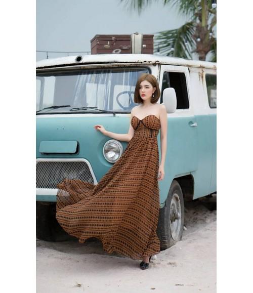 Đầm maxi cúp ngực viền