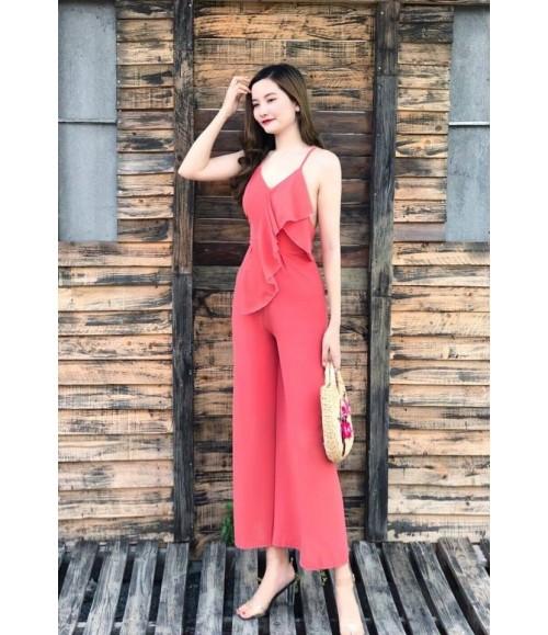 Bộ jum màu hồng viền xéo hai dây lưng trần
