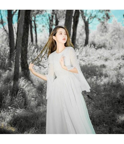 Đầm dạ hội phối ren viền tay cách điệu