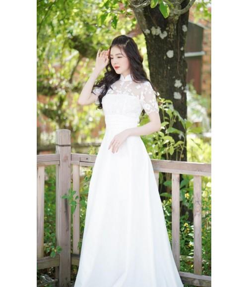 Đầm maxi cô dâu tay ngắn