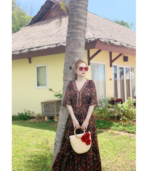 Đầm maxi màu trầm cổ điển