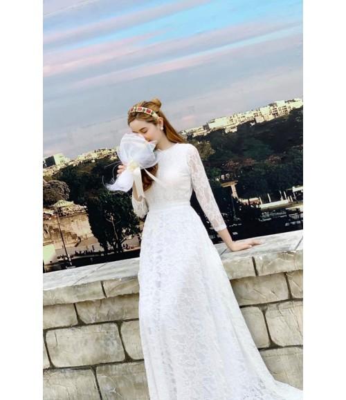 Đầm maxi trắng tay dài