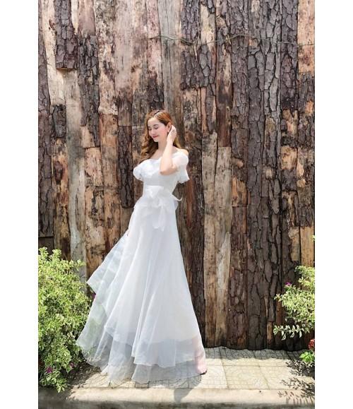 Đầm dạ hội trễ vai kết bông viền bèo tầng