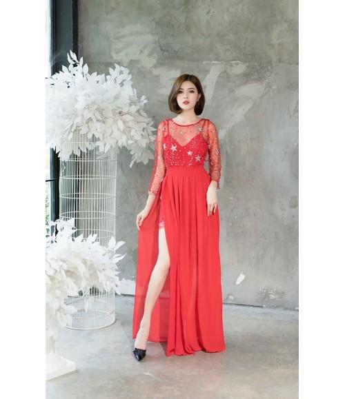 Đầm dạ hội họa tiết hình sao xẻ tà