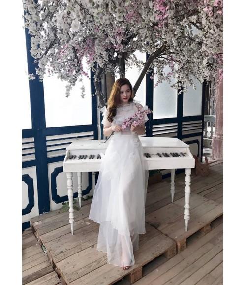 Đầm dạ hội công chúa lưới thêu hoa