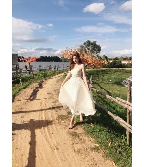 Đầm dạ hội cúp ngực lưới thêu hoa eo