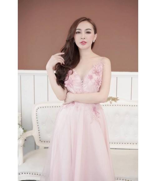 Đầm dạ hội lưới kết bông hồng dâu