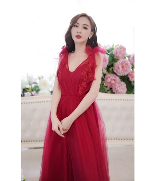 Đầm dạ hội lưới thêu hoa nổi nơ vai