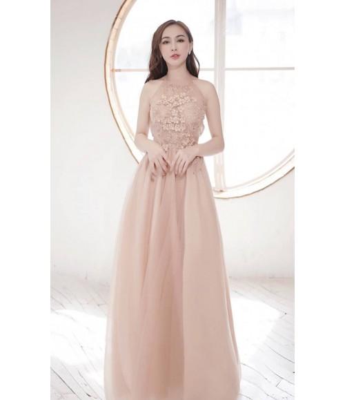 Đầm dạ hội cổ yếm thêu bông thêu nổi gắn hạt cườm