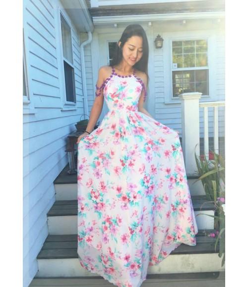 Đầm maxi hoa rớt vai