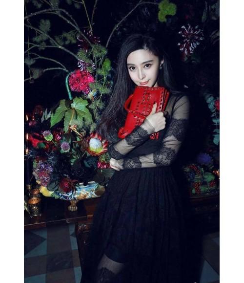 Đầm dự tiệc phối ren viền đen