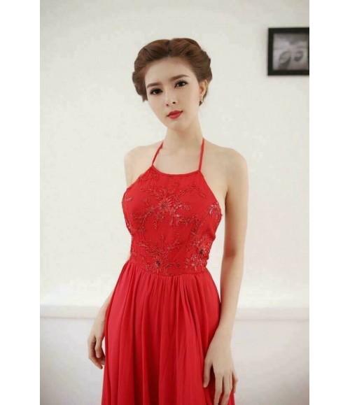 Đầm maxi dạ hội ren kim sa