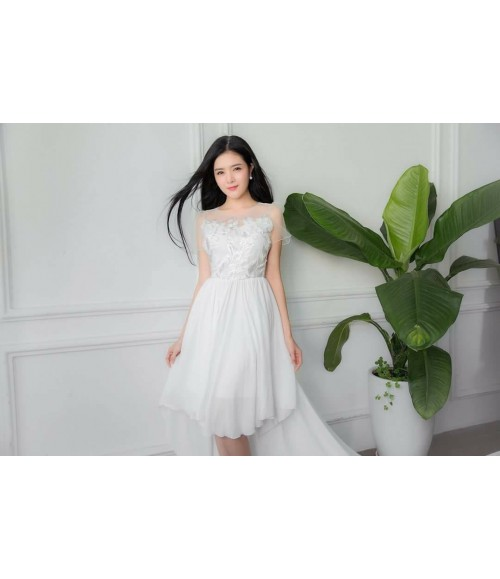 Đầm maxi lưới thêu hoa