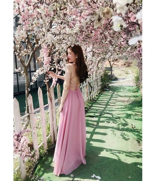 Đầm maxi ren kết hoa thêu phối voan
