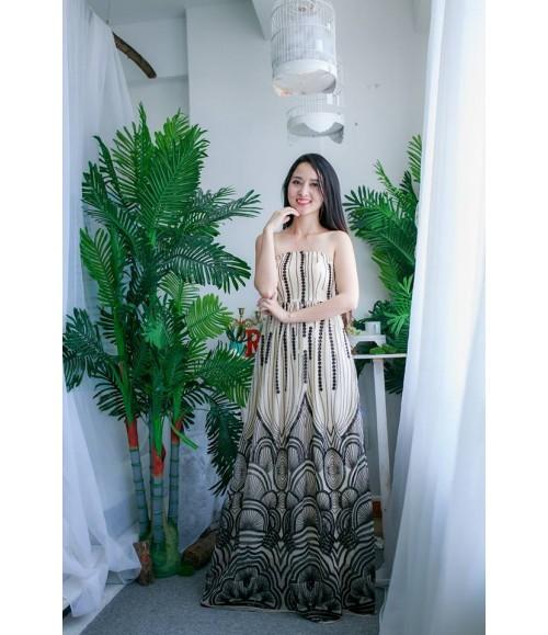 Đầm dạ hội họa tiết kim sa đính thủ công