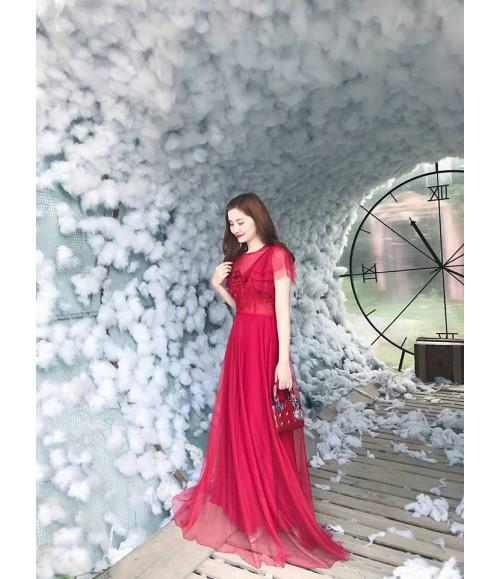 Đầm dạ hội lưới thêu hoa